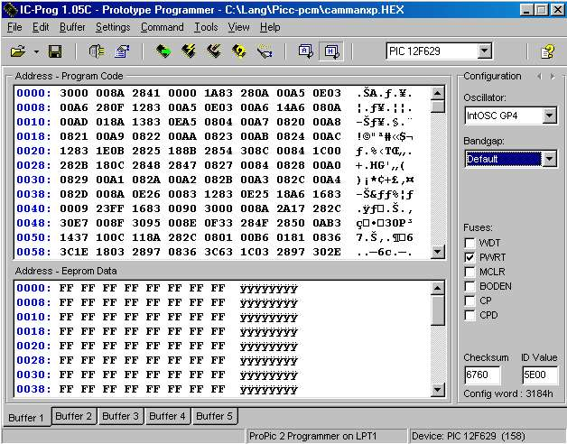 Example of hobby type flash programmer screenshot. Click to see larger view