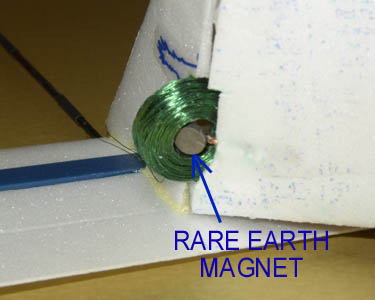 A closeup of the Rare Earth magnet.
